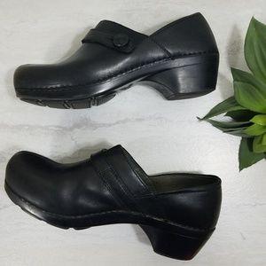 Dansko Slip On Black Leather Clogs - Size 41